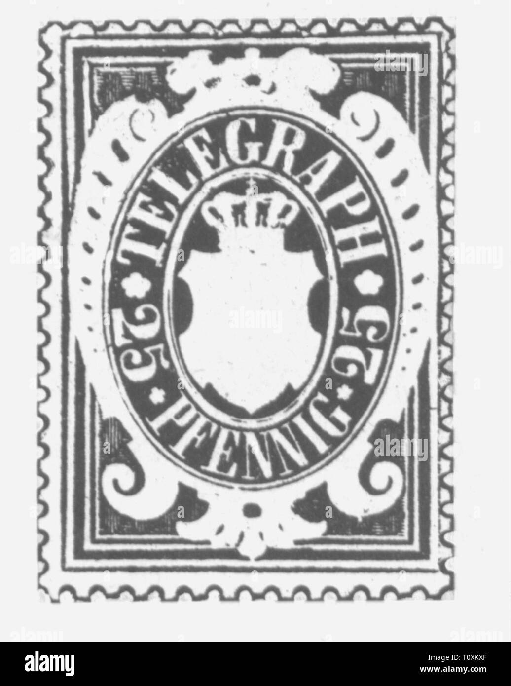 mail, postage stamps, Germany, Bavaria, 25 pfennig telegraph stamp, 1876, Additional-Rights-Clearance-Info-Not-Available - Stock Image