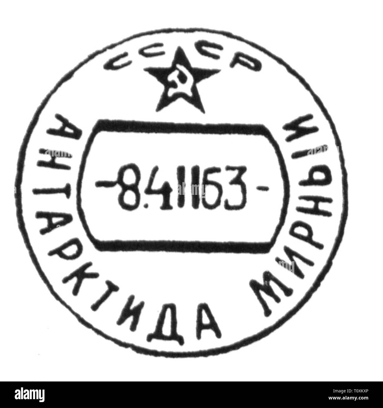 mail, postmarks, Russia, postmark of the Soviet Antarctic station Mirny, 4.2.1963, Artist's Copyright has not to be cleared - Stock Image