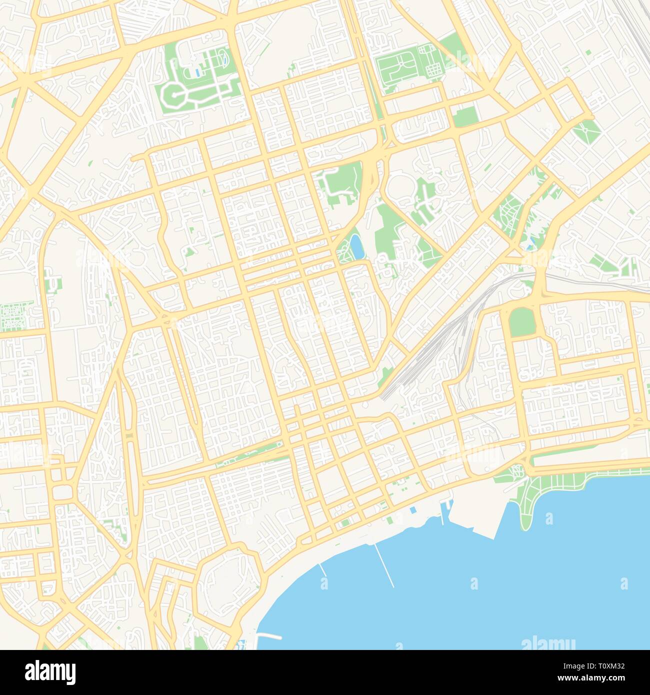 Printable map of Baku, Azerbaijan with main and secondary roads and larger railways. This map is carefully designed for routing and placing individual - Stock Vector