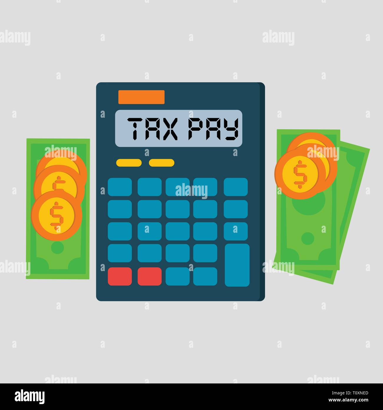 calculator , coin ,  money for tax day concept vector illustration - Stock Vector