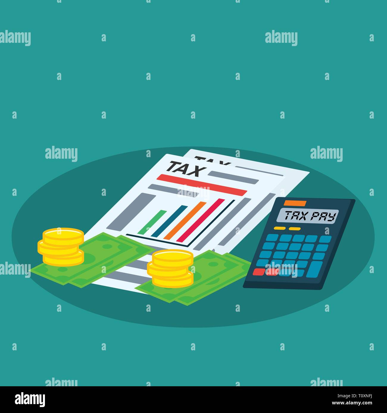 tax document, calculator, coin , money for tax day concept vector illustration - Stock Vector