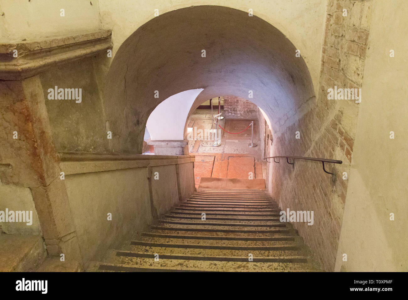 Italy, Verona - December 08 2017: the view of staircases in San Fermo Maggiore Church on December 08 2017, Veneto, Italy. - Stock Image