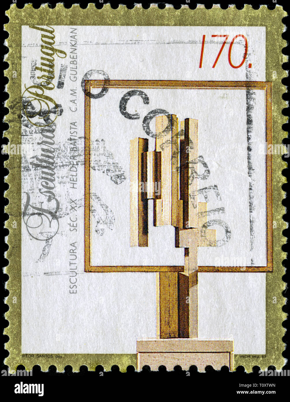 Postage stamp from Portugal in the Sculptures series issued in 1993 - Stock Image