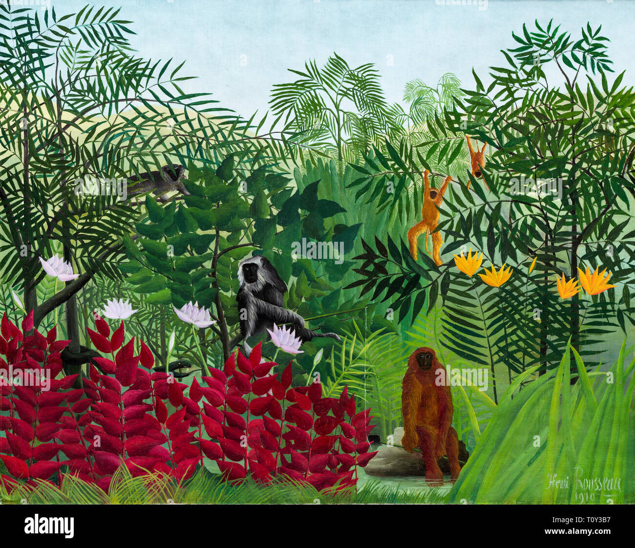 Henri Rousseau, Tropical Forest with Monkeys, painting, 1910 - Stock Image