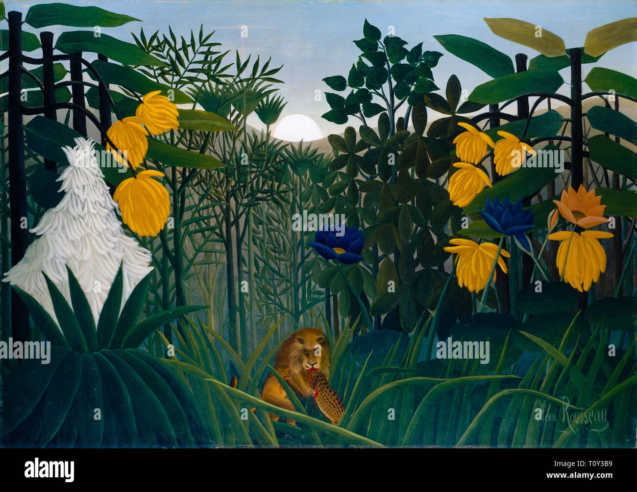 Henri Rousseau, The Repast of the Lion, jungle painting, 1907 - Stock Image