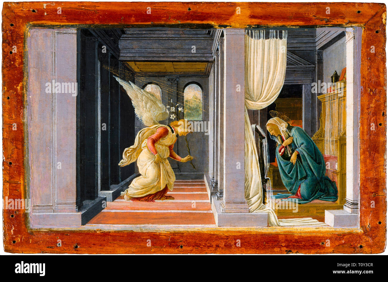 Sandro Botticelli, The Annunciation, painting, c. 1485 - Stock Image
