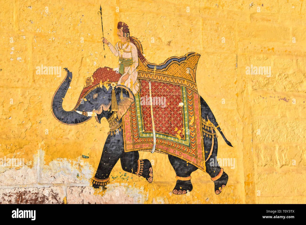 Elephant Mural, Pal Haveli, Jodhpur, Rajasthan, India - Stock Image