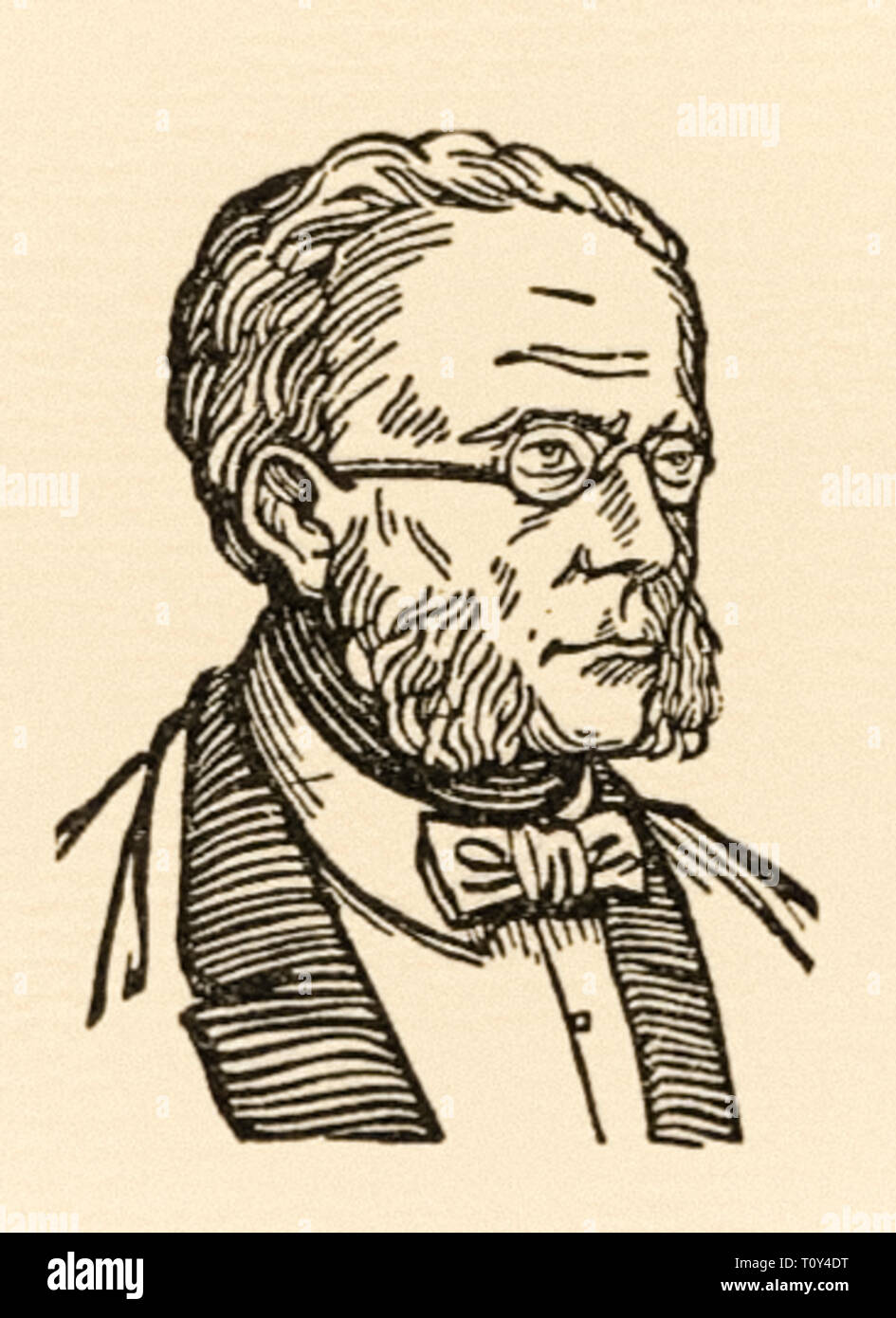 Johann Christian Bauer (1802-1867) founder of the Bauer Type Foundry in 1837 in Frankfurt, Germany.  Bauer designed typefaces and punchcutters for use in letterpress printing. Woodcut by Karl Mahr (1890-1945). - Stock Image