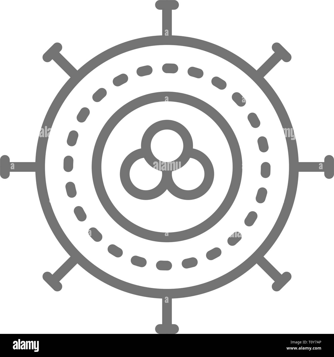 Cancer cell, virus, infection, oncology line icon. - Stock Image