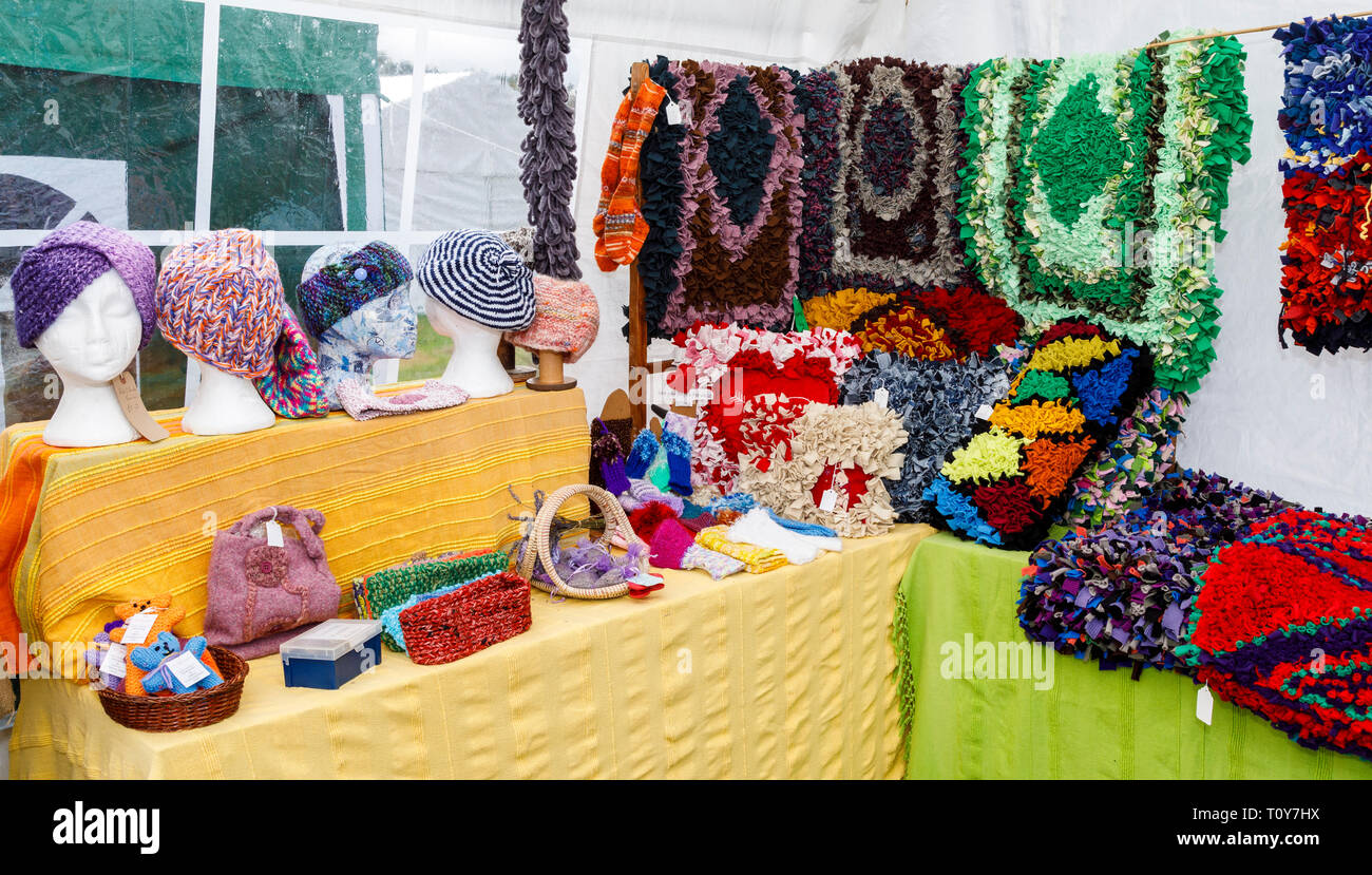 A stall showing handicraft creations using wool at the 2018 Aylsham Agricultural Show, Norfolk, UK. - Stock Image
