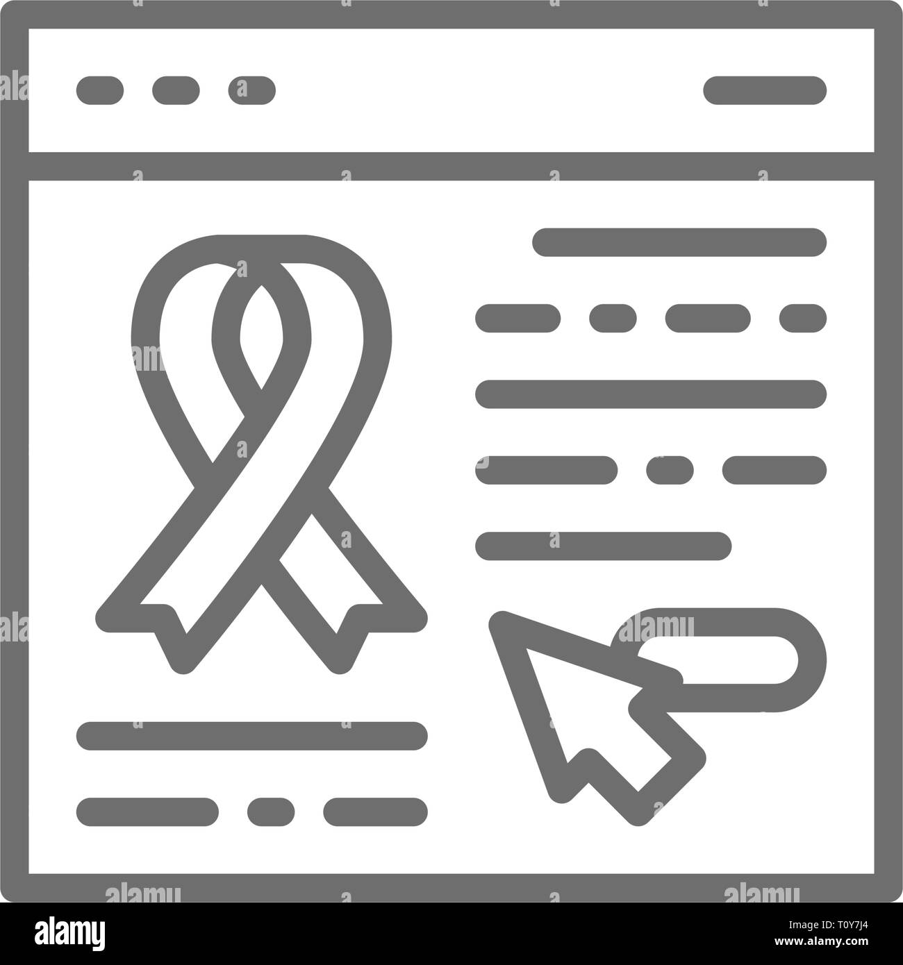 Donation website, web page with awareness ribbon, organs transplant line icon. - Stock Image