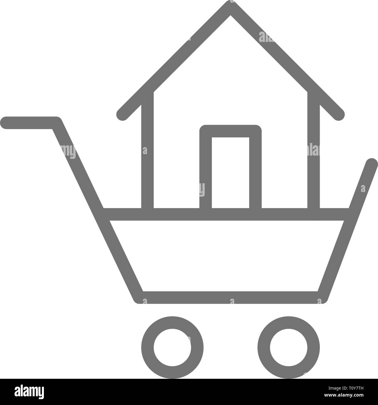 Trolley with house, sale of buildings line icon. - Stock Image