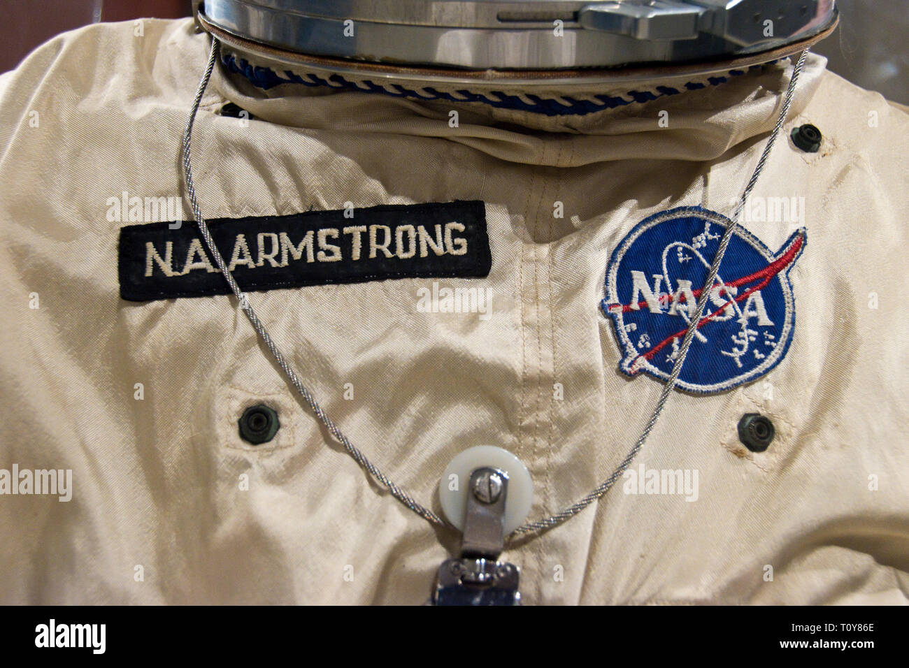 The spacesuit worn on Gemini 8 by astronaut Neil Armstrong, the first man to step on the moon, in the Armstrong Air and Space Museum, Wapakoneta, Ohio Stock Photo