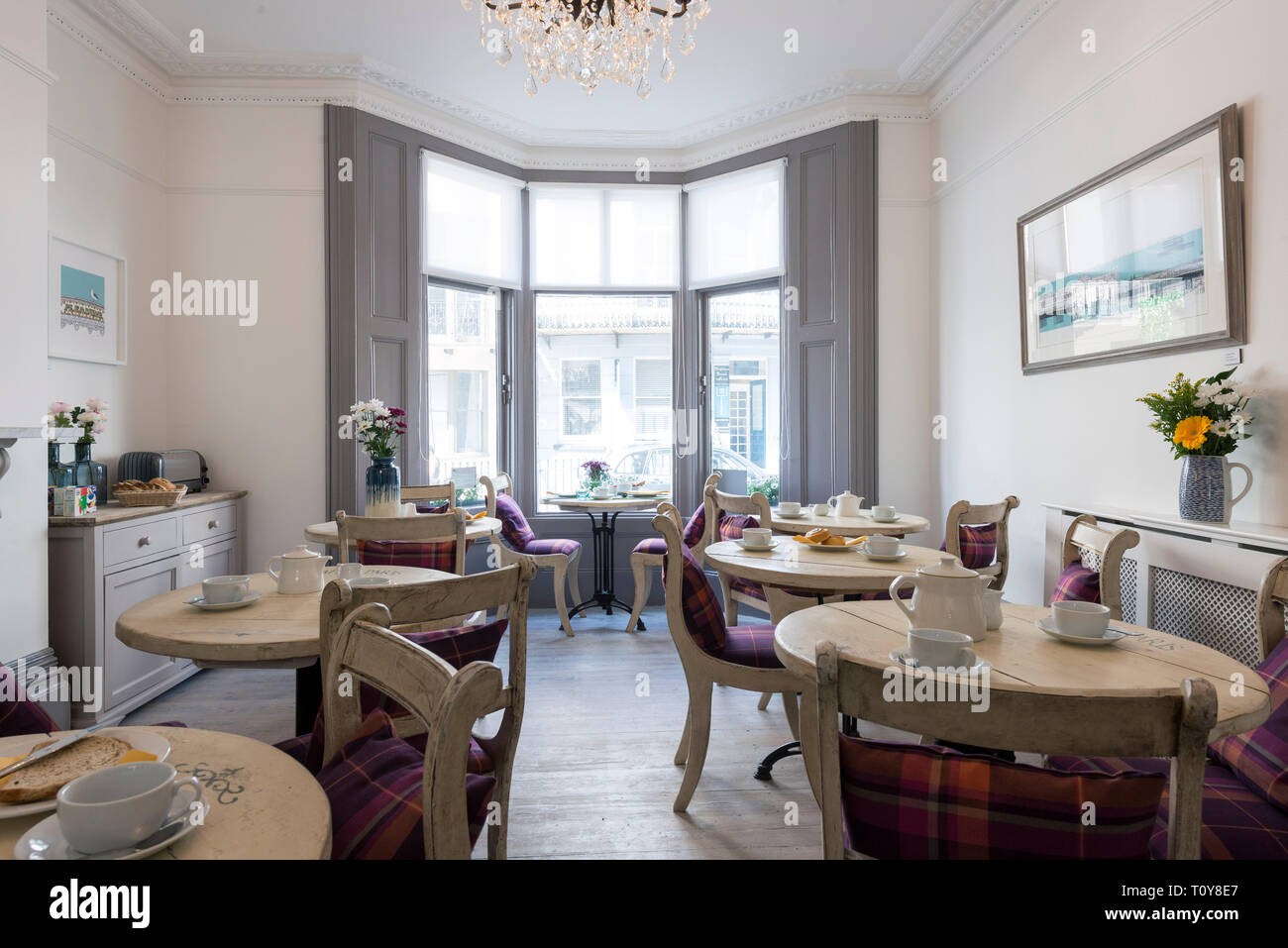 A Dining Room In A Bed And Breakfast Hotel Is Laid Out For Breakfast Stock Photo Alamy