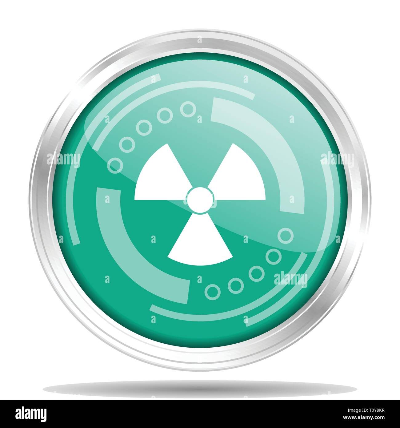 Radiation silver metallic chrome border round web icon, vector illustration for webdesign and mobile applications isolated on white background - Stock Vector