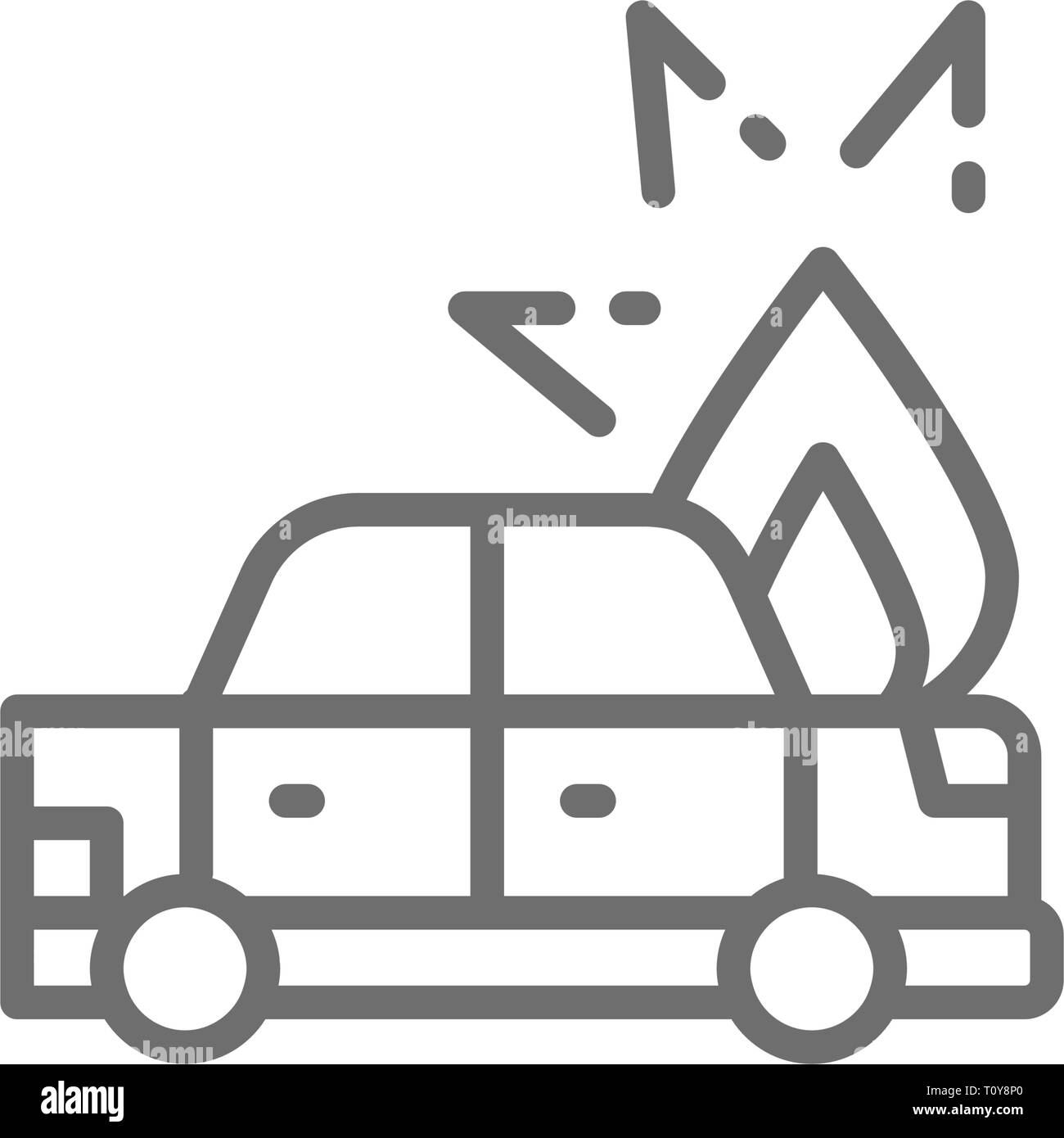 Fire under hood of car, automobile broke down, accident line icon. - Stock Image