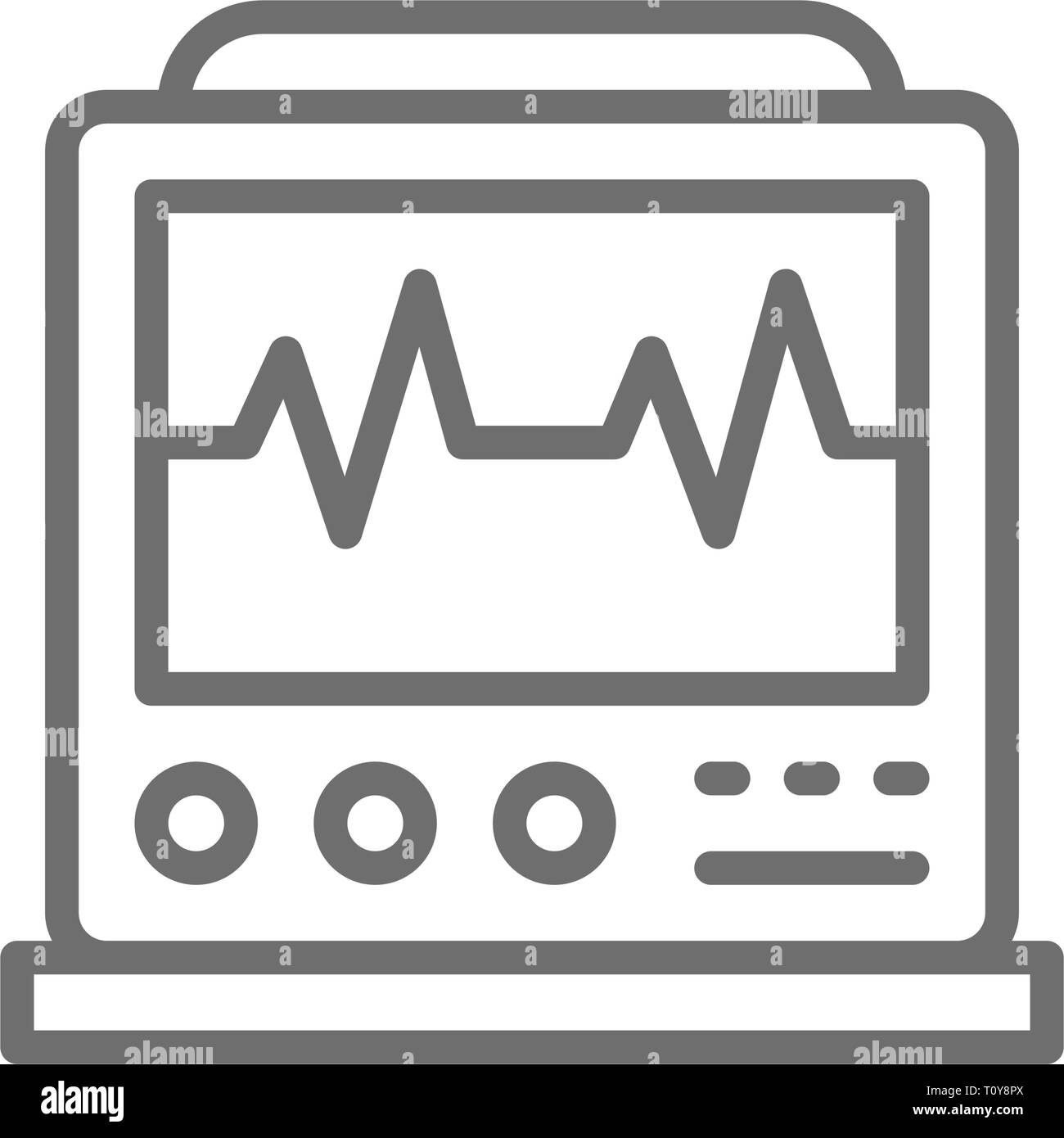 EKG machine with pulse, ICU monitor, electrocardiograph line icon. - Stock Image