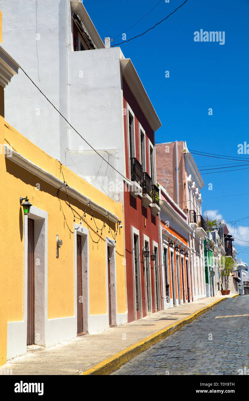Old San Juan Puerto Rico with example of typical old colorful architecture Stock Photo