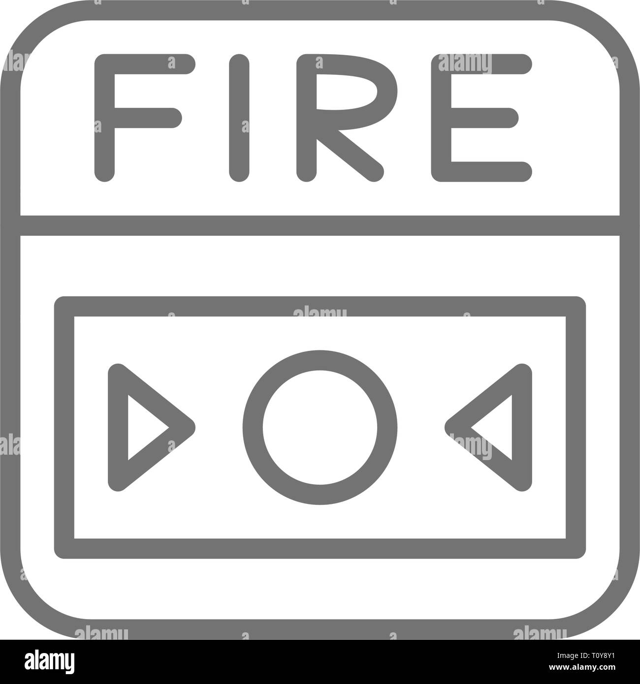 Fire alarm system, button line icon. Isolated on white background Stock Vector