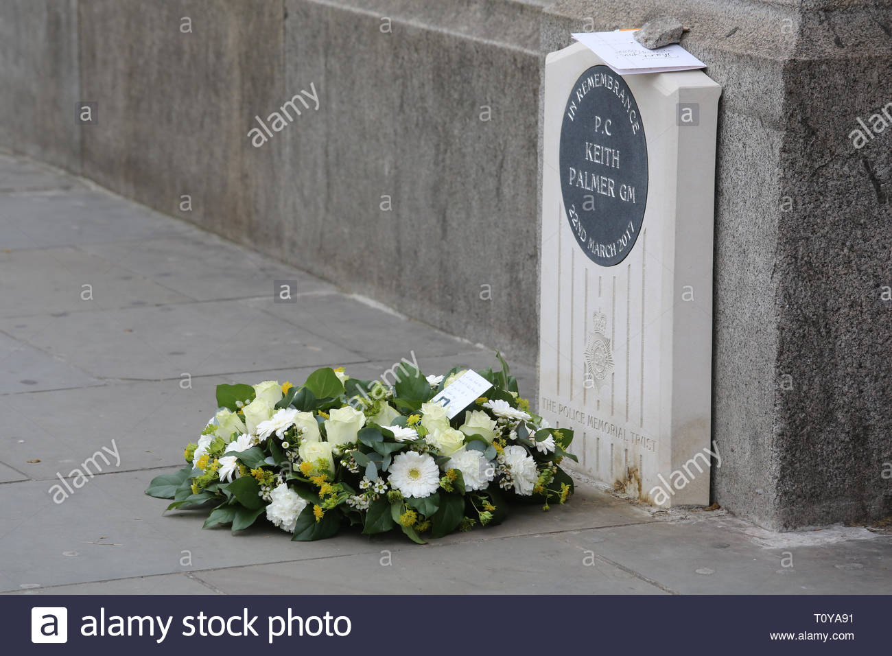 London, UK. 22nd Mar, 2019. Today is the second anniversary of PC Keith Palmer's death which occurred during the attack on London Bridge and parliament. Fresh flowers have been placed at his memorial. Credit: Clearpix/Alamy Live News Stock Photo