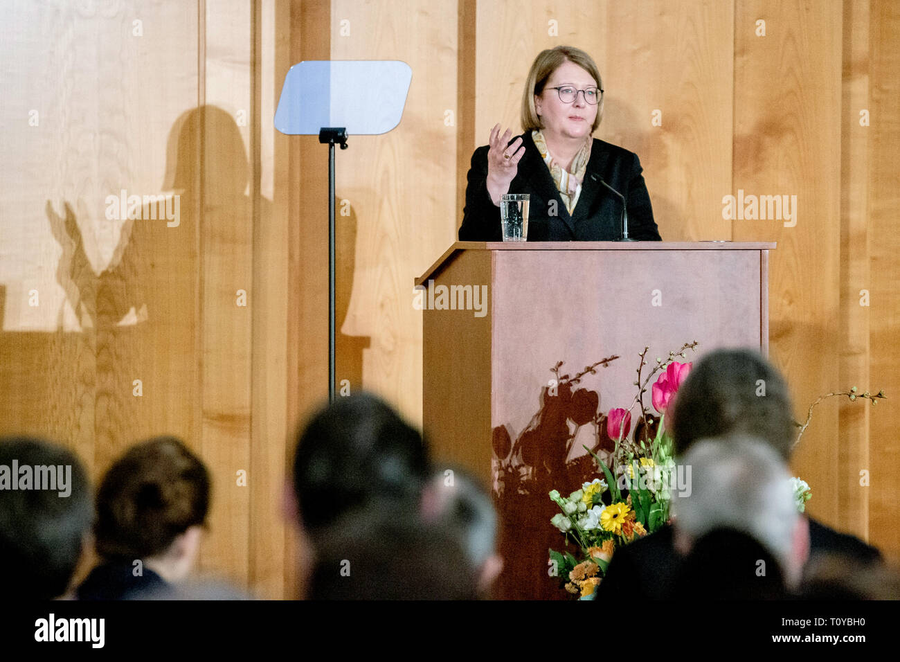 Berlin, Germany. 22nd Mar, 2019. Antje Leendertse, State Secretary at the Federal Foreign Office, will address you as his successor at the handover of office from Foreign State Secretary Lindner. Credit: Christoph Soeder/dpa/Alamy Live News - Stock Image