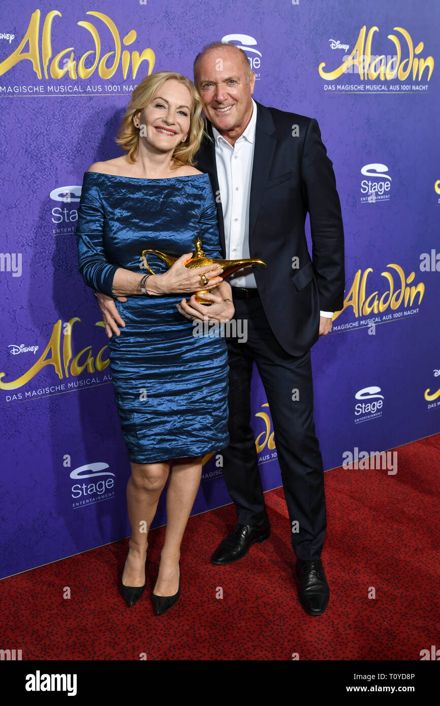 Hamburg, Deutschland. 21st Mar, 2019. Gaby Hauptmann writer with her friend Josef Schmidbauer at the musical premiere of Disney's Aladdin at the Stage Apollo Theater on Thursday, March 21, 1919 in Stuttgart | usage worldwide Credit: dpa/Alamy Live News - Stock Image