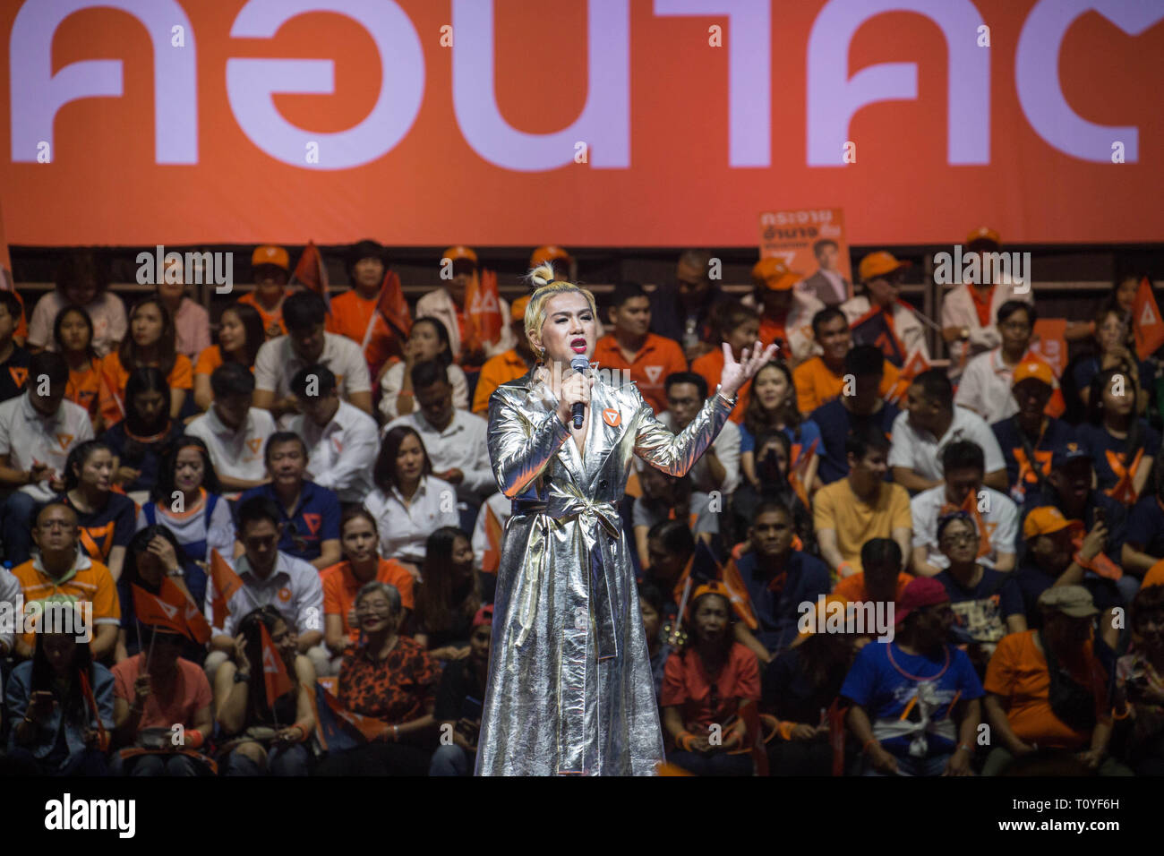 Bangkok, Thailand. 22nd Mar, 2019. Transgender Thanyawin Sukasapisit speaks during the Future Forward Party latest rally before the Thai General Election at the Thai-Japanese Stadium in Bangkok.The country will hold the general election on March 24, 2019, five years after the May 2014 military coup by Junta chief Prayut Chan-o-cha. Credit: Guillaume Payen/SOPA Images/ZUMA Wire/Alamy Live News Stock Photo
