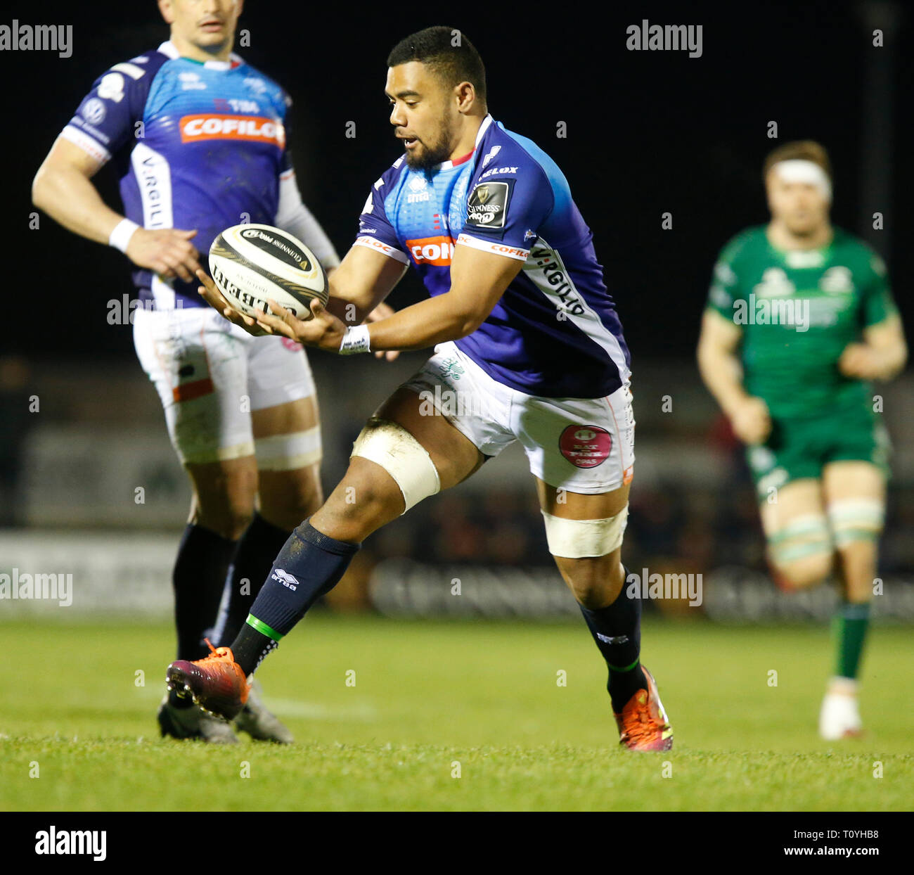 Galway Sports Ground, Galway, Ireland. 22nd Mar, 2019. Guinness Pro14 rugby, Connacht versus Benetton; Toa Halafihi holds on to the ball for Benetton Credit: Action Plus Sports/Alamy Live News - Stock Image