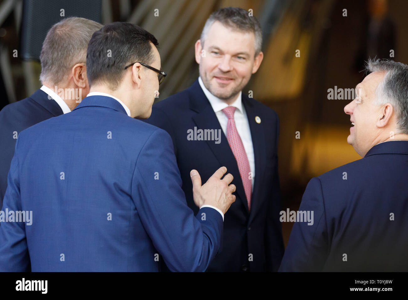 Brussels, Belgium. 22nd Mar 2019. Prime Minister of Czech Republic Andrej Babis, Prime Minsiter of Poland Mateusz Morawiecki, Prime Minister of Slovakia Peter Pellegrini and Prime Minsiter of Hungary Viktor Orban talks at the European Union leaders summit in Brussels Credit: Alex Musta/Alamy Live News - Stock Image