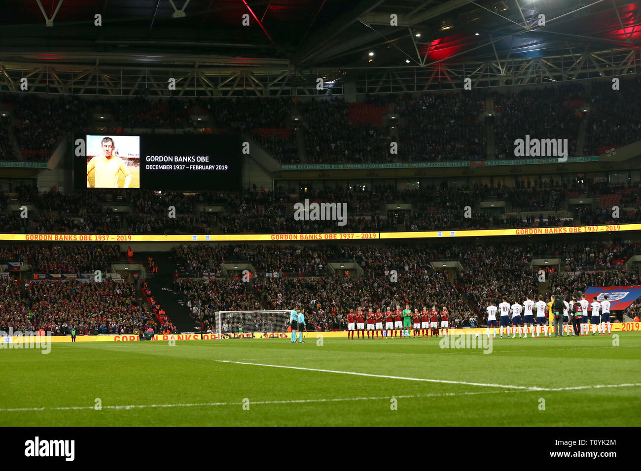 London, UK. 22nd Mar 2019. England tribute to Gordon Banks during the UEFA European Championship Group A Qualifying match between England and Czech Republic at Wembley Stadium, London on Saturday 23rd March 2019. (Credit: Leila Coker | MI News) Credit: MI News & Sport /Alamy Live News - Stock Image