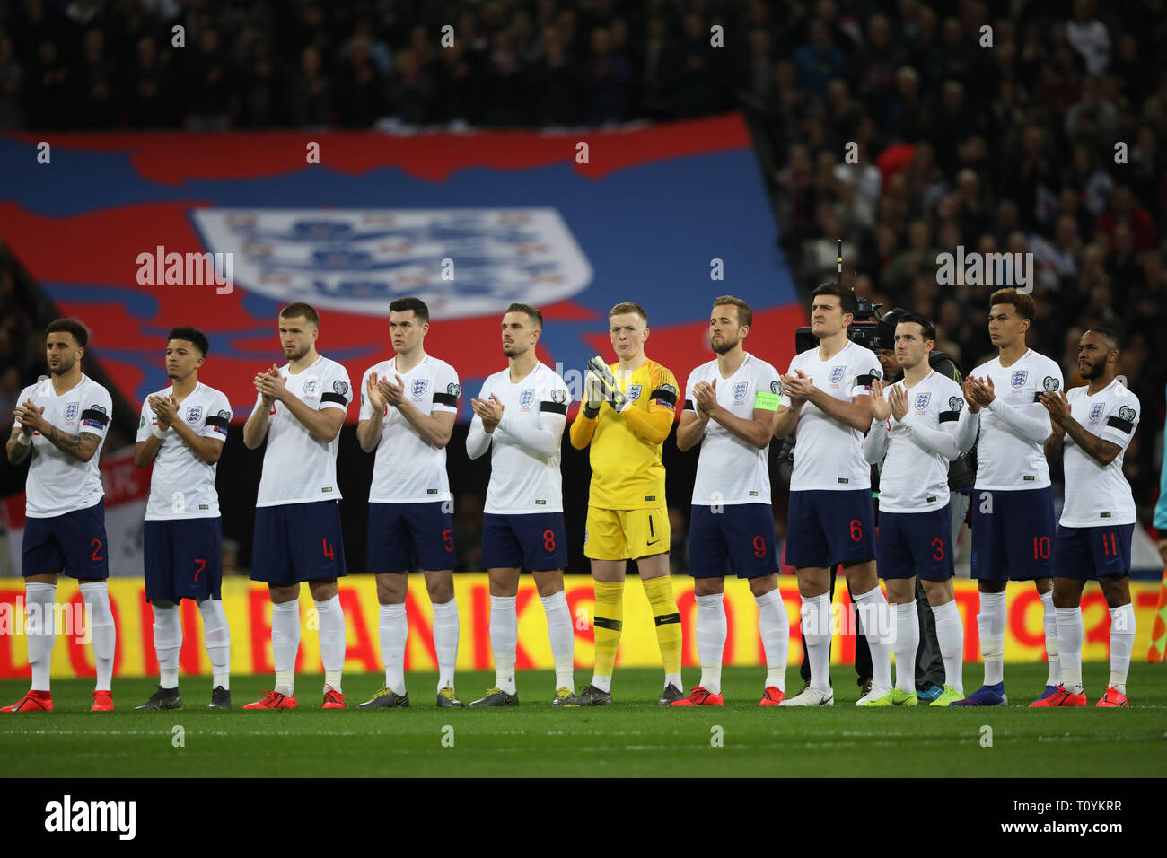 Peterborough, UK. 22nd Mar, 2019. England players have a mark of respect for the late England goalkeeper, Gordon Banks. England v Czech Republic EUFA Euro 2020 Qualifier, at Wembley Stadium, UK on March 22, 2019. **Editorial use only, license required for commercial use. No use in betting, games or a single club/league/player publications** Credit: Paul Marriott/Alamy Live News - Stock Image