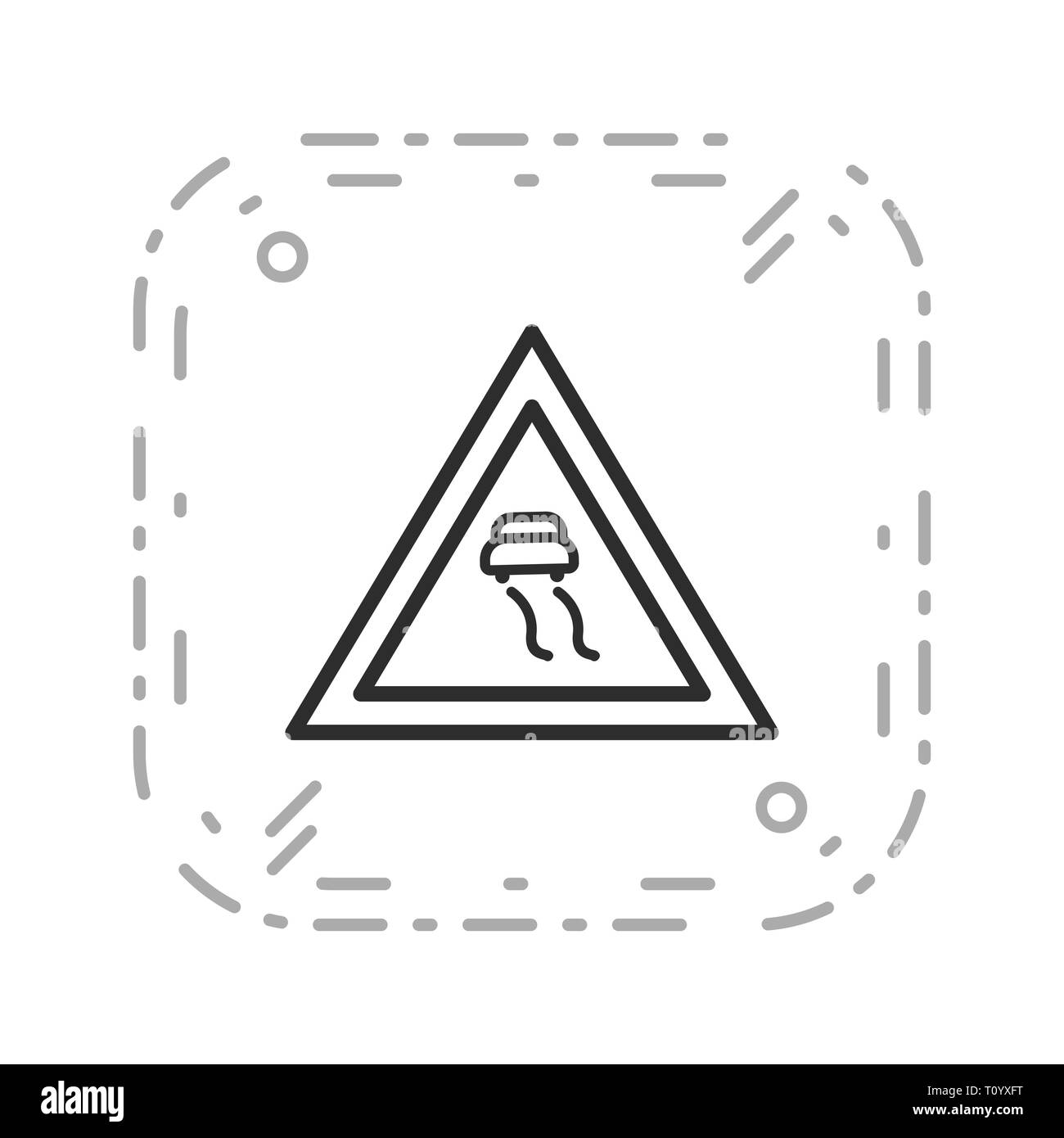 Illustration  Slippery roads Icon - Stock Image