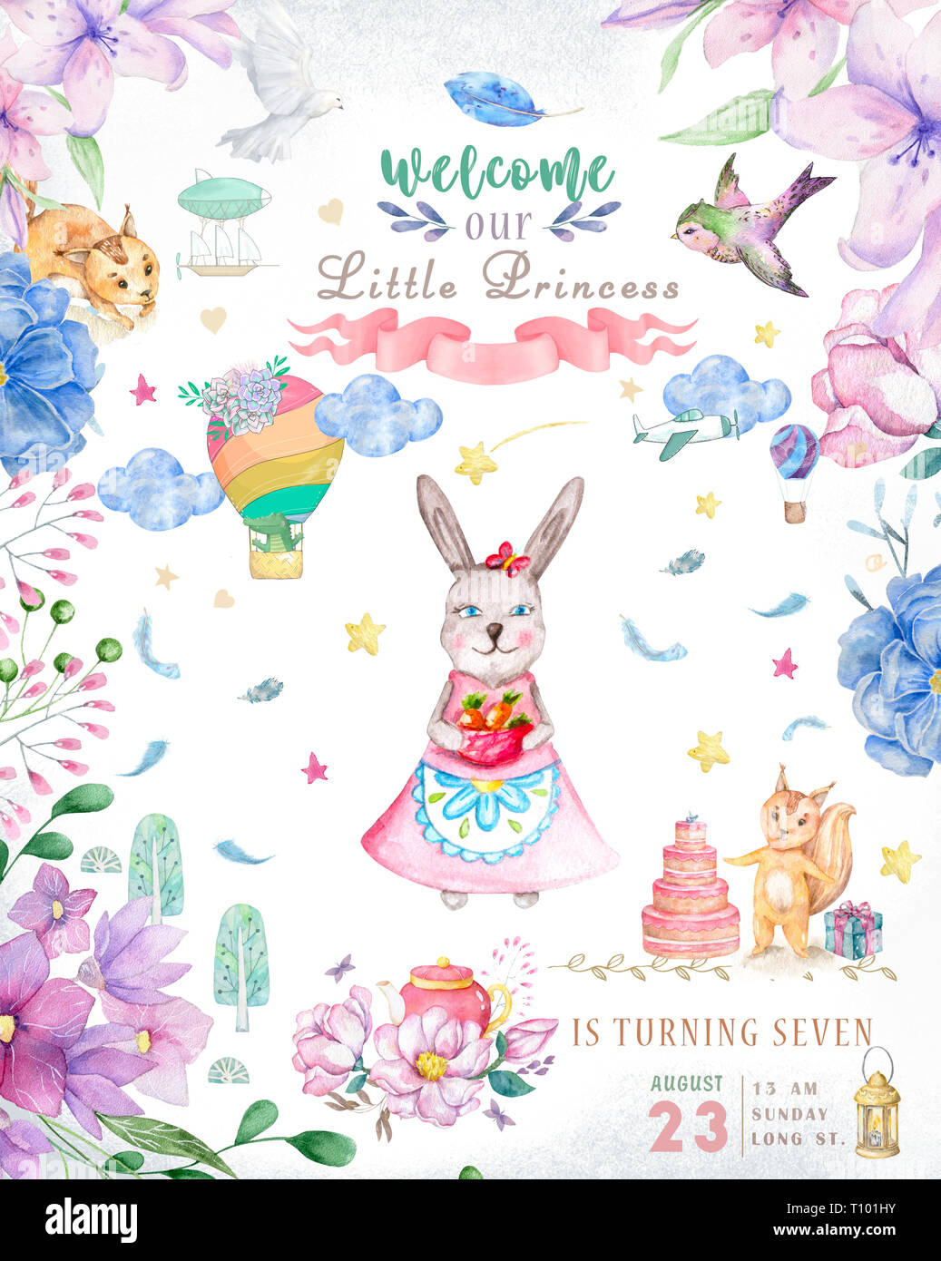 Cute Happy Birthday Card With Cartoon Bunny Watercolor Rabbit Clip Art And Beauty Boho Pink Flowers Floral Lamp Light And Leaf For Happy Easter On Stock Photo Alamy