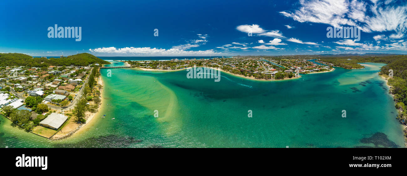Aerial drone view of Tallebudgera Creek and beach on the Gold Coast, Queensland, Australia - Stock Image