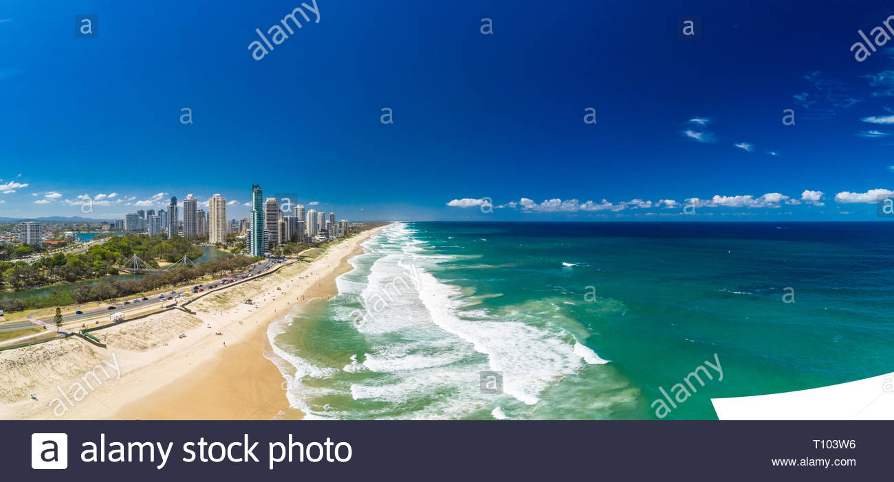 Surfers Paradise beach from an aerial drone perspective, Gold Coast, Queensland, Australia - Stock Image