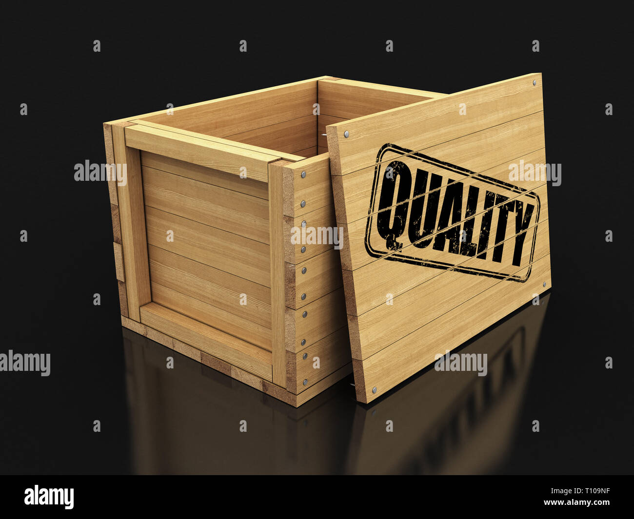 Wooden crate with stamp Quality. Image with clipping path Stock Photo