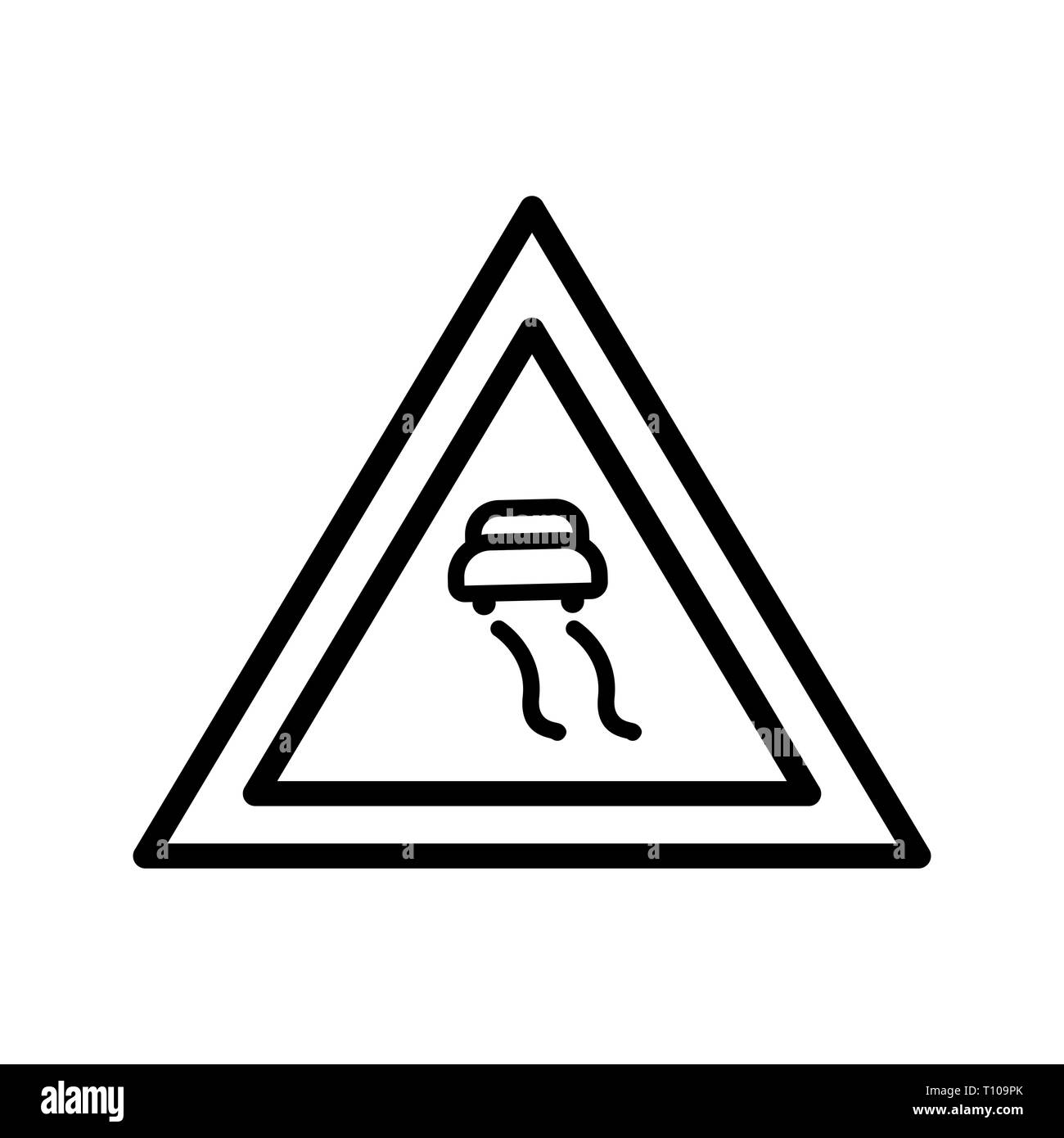 Illustration  Slippery roads Icon - Stock Image