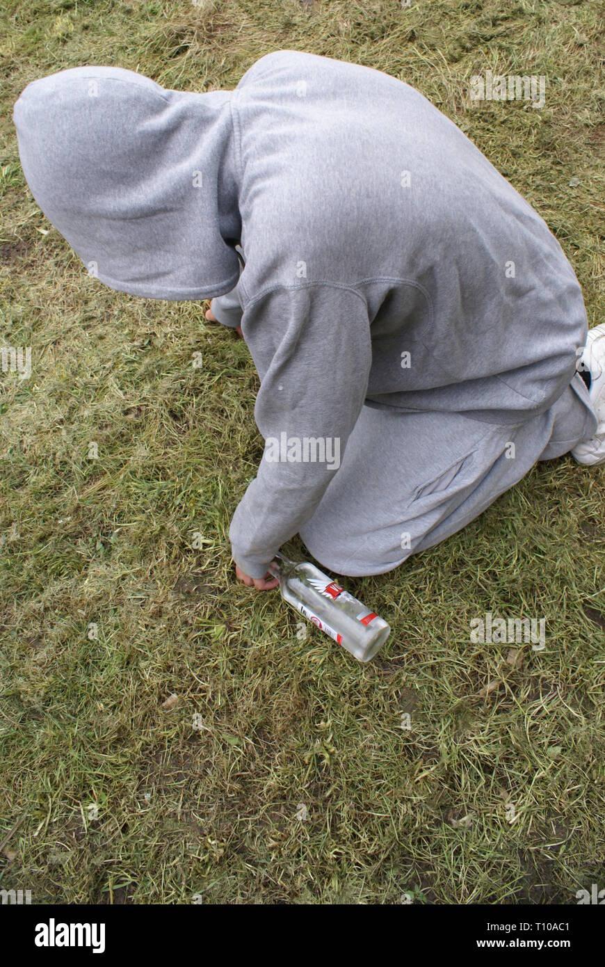 drunken teenager, alcohol abuse, - Stock Image