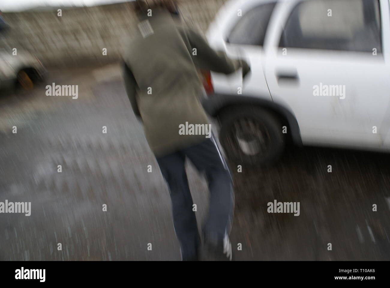 Car crime, TWOC, theft of motor vehicle - Stock Image