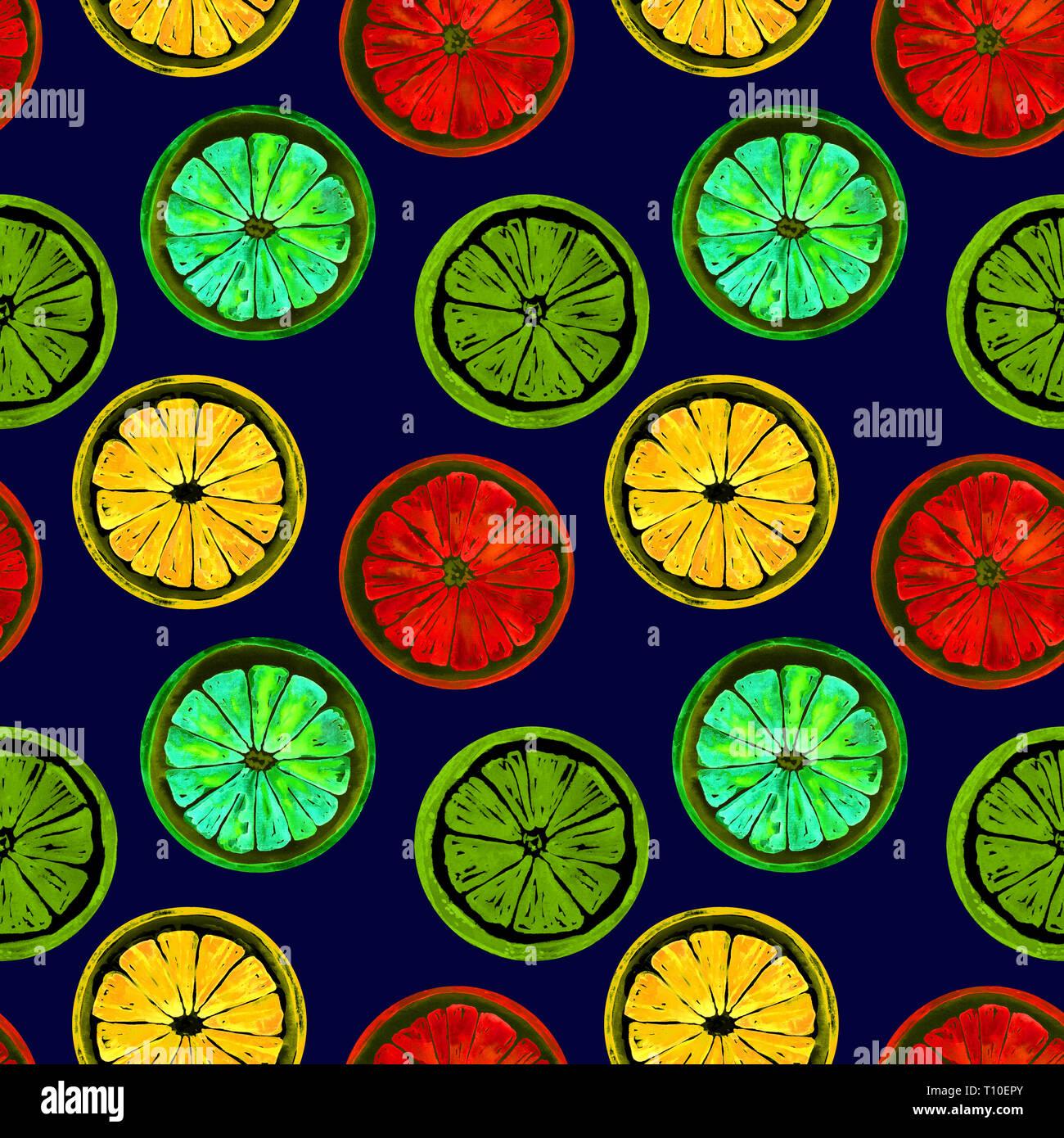 Grapefruit, orange, lime and lemon, bright neon colors palette, seamless pattern design, hand painted watercolor illustration, dark blue background - Stock Image