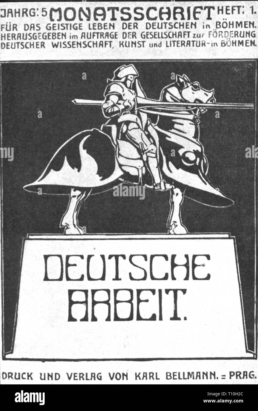 press / media, magazines, 'Deutsche Arbeit', title page, 5th volume, book 1, Prague, 1905, Austria-Hungary, Austria - Hungary, Bohemia, Germanness, German nationality, graphic, graphics, script, scripts, masthead, title, titles, typo, typeface, type, typefaces, fonts, types, font, culture, cultures, cultural journal, monument, monuments, knight, knights, knight's armour, knight's armor, lance, lances, horse, rider, riders, riding, pedestal, pedestals, armour suit, armor suit, 20th century, 1900s, press, presses, volume, volumes, book, books, Prag, Additional-Rights-Clearance-Info-Not-Available - Stock Image