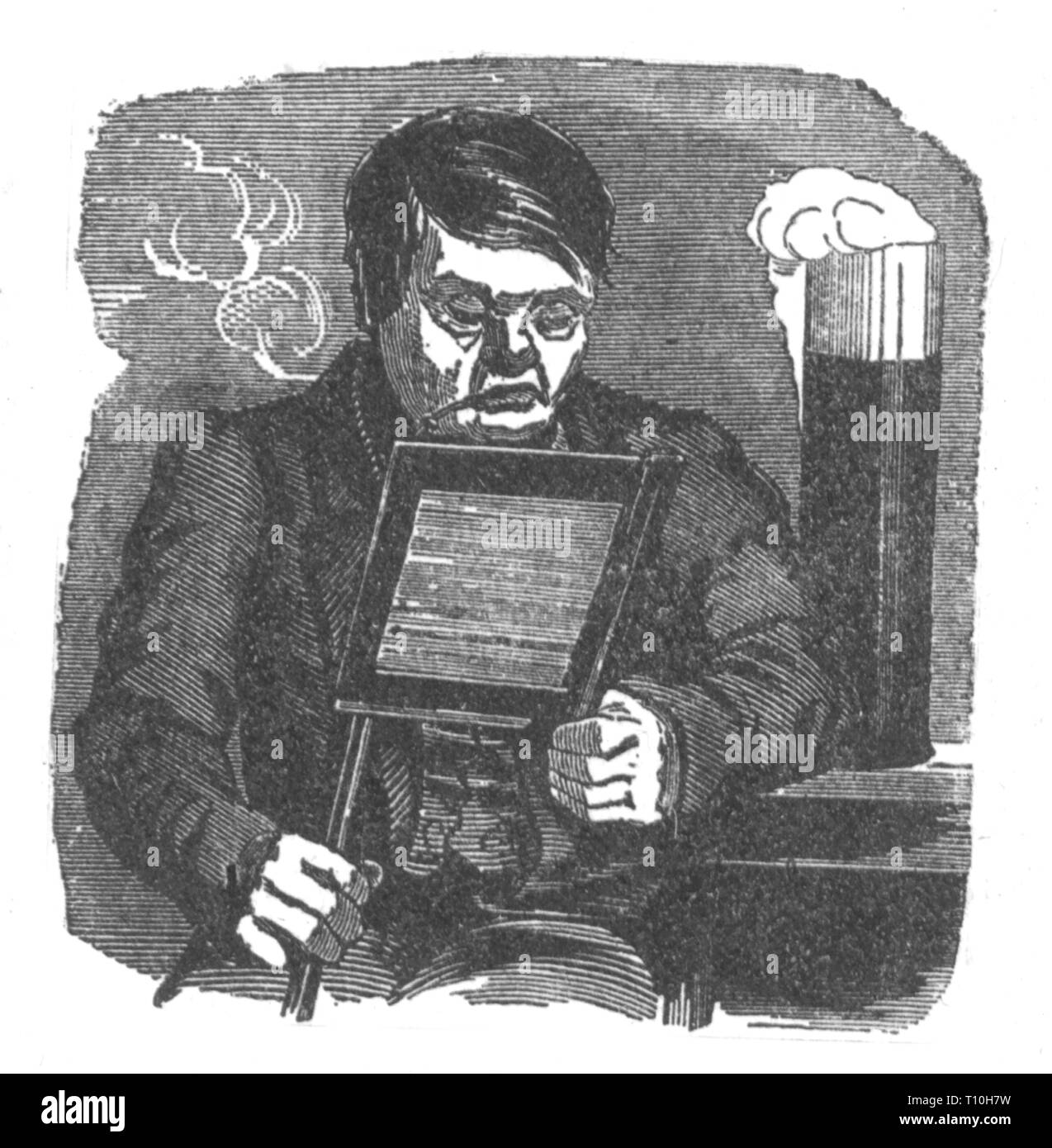 press / media, caricature, reader of the 'Vossische Zeitung', drawing, 1848, Germany, German Revolution of 1848-1849, Prussia, graphic, graphics, humor, humour, satire, newspaper, newspapers, magazine, magazines, reader, readers, reading, read, half length, sitting, sit, smoking pipe, pipes, smoking, smoke, beer glass, beer glasses, beer schooner, glass, glasses, beer, beers, atmosphere of comfort, comfortable ambience, coziness, cosiness, liberalism, 19th century, press, presses, caricature, caricatures, historic, historical, man, men, male, peo, Additional-Rights-Clearance-Info-Not-Available - Stock Image