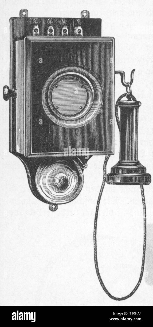 mail, telephone, telephone with vertical mikrophone membrane, closed, wood engraving, Germany, later 19th century, telephone set, telephone sets, technics, telecommunications, telecommunication, telecom, communication, communications, transfer of information, , mouthpiece, microphone, mouthpieces, microphones, receiver, receivers, earpiece, earpieces, box, boxes, acoustic membrane, mail, post, telephone, phone, telephones, phones, historic, historical, Artist's Copyright has not to be cleared - Stock Image