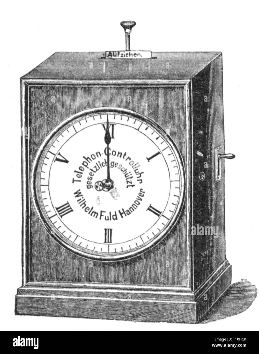 clock, telephone control clock for controling liable charges calls, made by: Wilhelm Fuld, Hanover, wood engraving, circa 1895, Artist's Copyright has not to be cleared - Stock Image