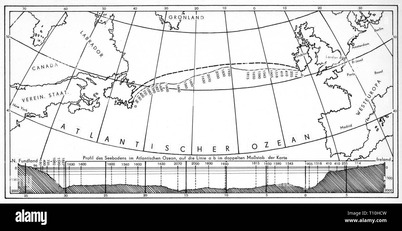 Atlantic Cable Map Stock Photos & Atlantic Cable Map Stock