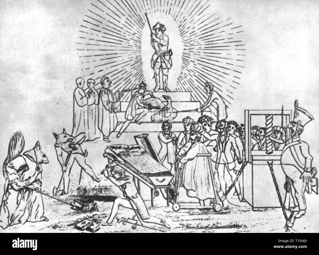 press / media, magazines, caricature, burial of the 'Rheinische Zeitung', drawing, 1843, Additional-Rights-Clearance-Info-Not-Available - Stock Image