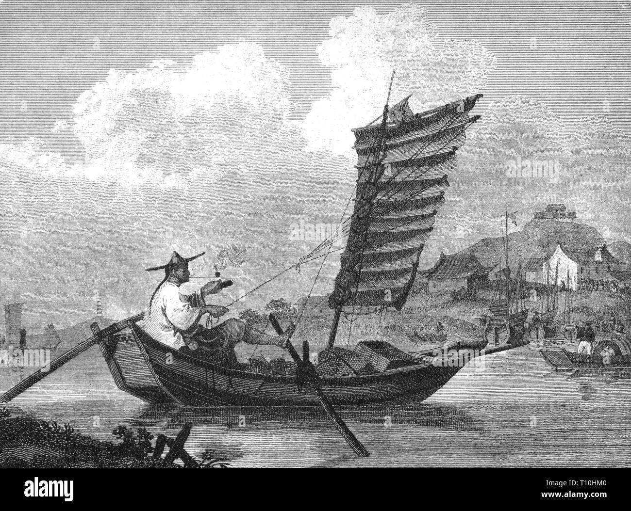 geography / travel, transport / transportation, navigation, sailing ship, junk, Chinese mail boat, wood engraving, 2nd half 19th century, Artist's Copyright has not to be cleared Stock Photo