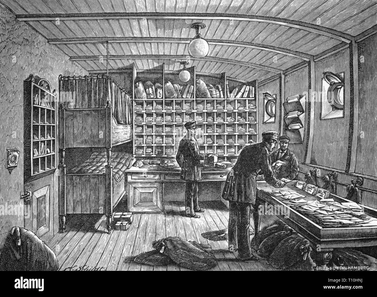 geography / travel historic, mail, post office, postal chamber on a steamship of the HAPAG, interior view, wood engraving, later 19th century, Hamburg-Amerikanische Packetfahrt-Actien-Gesellschaft, German Reichspost (Reich Mail), Germany, German Empire, Imperial Era, mail ship, ships, steamers, mail steamer, communication, communications, transportation, navigation, transport, letter, letters, sorting, sort, assort, assorting, labour, labor, working, post office clerk, postal work, postal clerk, civil servant, civil servants, people, everyday life, dai, Artist's Copyright has not to be cleared - Stock Image