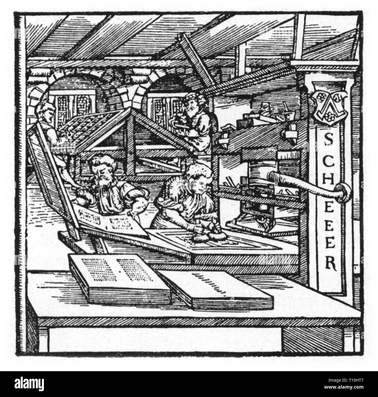 people, profession, printer, woodcut, Germany, 16th century, Artist's Copyright has not to be cleared - Stock Image