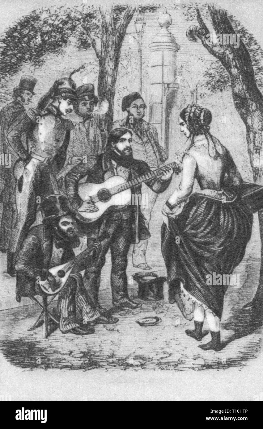 music, musician, buskers, wood engraving, 19th century, half length, standing, sitting, sit, musical instrument, musical instruments, instrument, instruments, mandolin, mandolins, guitar, guitars, make music, play music, making music, playing music, makes music, plays music, made music, played music, playing, play, streets, street, street scene, street scenes, pedestrian, pedestrians, passer-by, passerby, passers-by, busker, buskers, historic, historical, woman, women, female, man, men, male, people, Artist's Copyright has not to be cleared - Stock Image